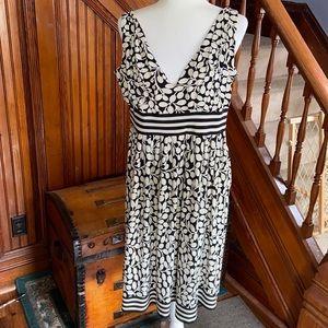 Cream and black Maggy London midi dress